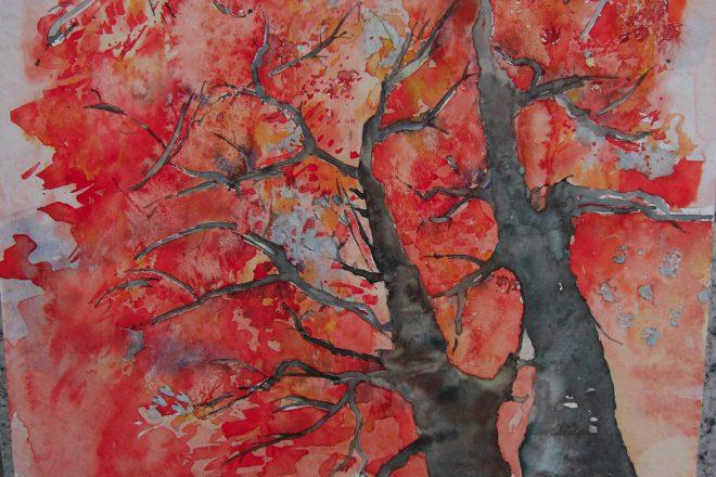 Kazuko Kasuya-Schlegel – Ahorn in Rot, Aquarell