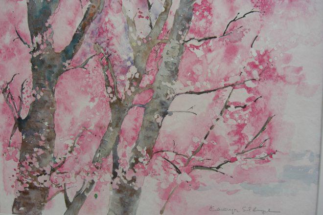 Kazuko Kasuya-Schlegel – Frühlingsbote, Aquarell