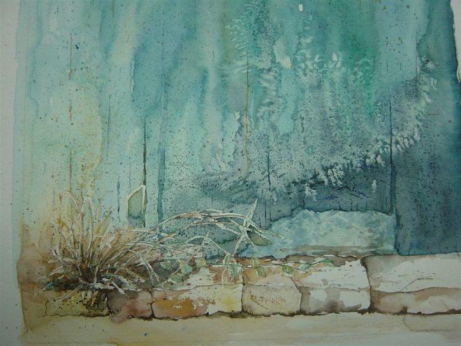 Kazuko Kasuya-Schlegel – Hinterhof, Aquarell