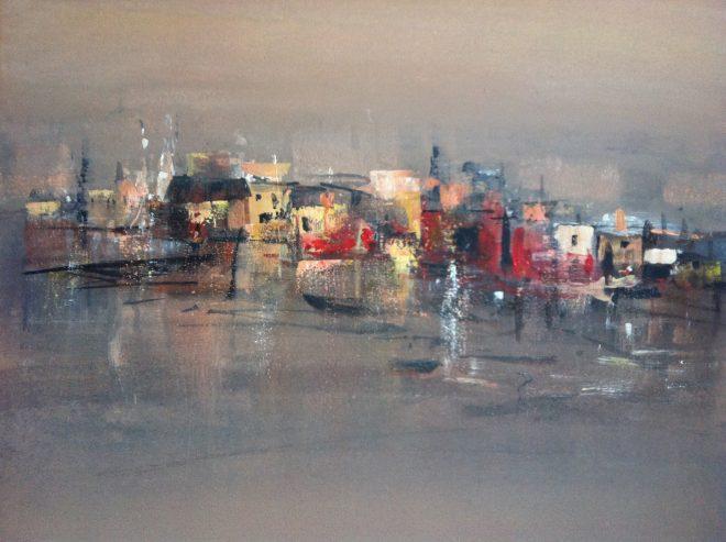 Kazuko Kasuya-Schlegel – Rote Stadt, Acryl 70x70
