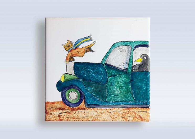Annette Andernacht: Porzellanmalerei - Fliese 15x15 cm