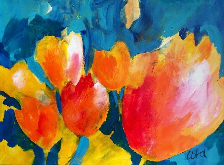 Elke Uta Summen: Farbstarke Acrylmalerei - Frühlingsgefühle, 70x50. cm