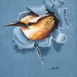 Fahad Galiwango: Acrylbilder auf alten Tüchern – Vogel, 38×65 cm