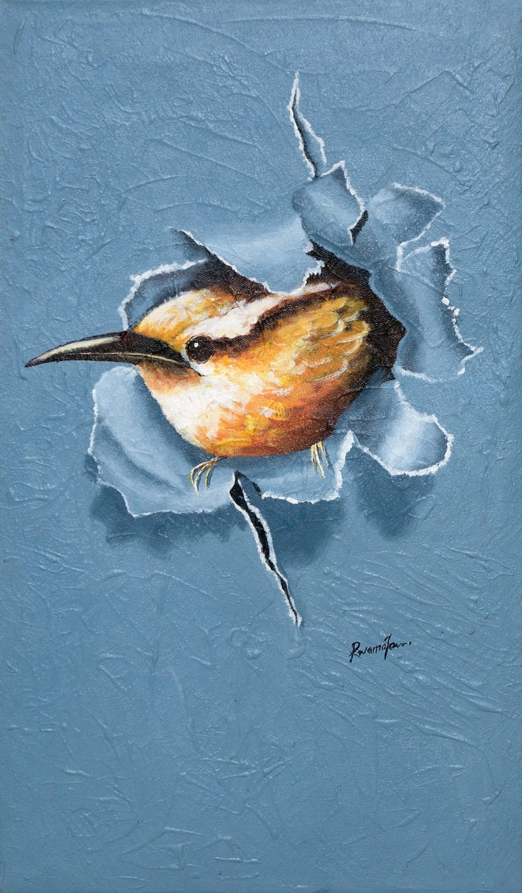 Fahad Galiwango: Acrylbilder auf alten Tüchern - Vogel, 38x65 cm