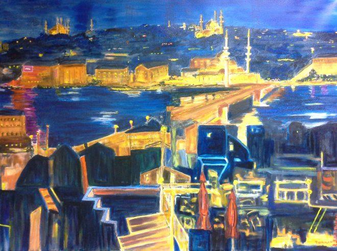 Türkan Lau-Turan – Istanbult bei Nacht, 80x60 cm