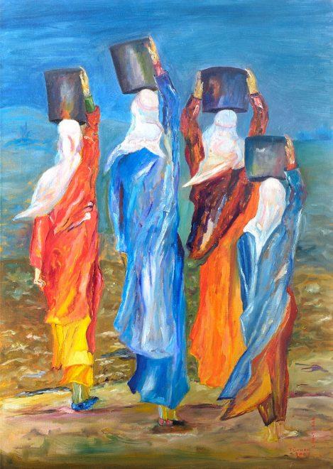 Türkan Lau-Turan – Frauen gehen zum Brunnen, 50x70 cm