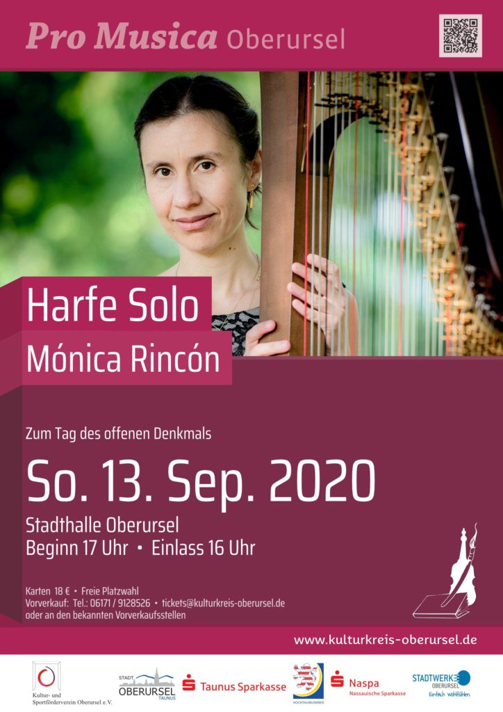 Harfe Solo mit Mónica Rincón am 13. September in der Stadthalle Oberursel
