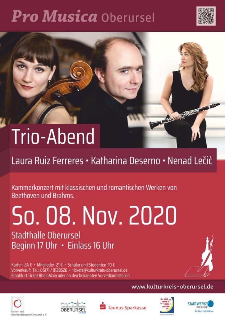 08. November 2020, 17 Uhr, Stadthalle Oberursel. TRIO – ABEND mit Laura Ruiz Ferreres, Katharina Deserno, Nenad Lečić.